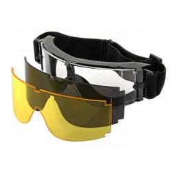 Ochelari Tip Goggles 3 Lentile Rama Neagra PJ